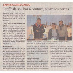 Article presse CO 20191113 Inauguration Etoffe de SOI - Cours de couture et bar à couture Angers