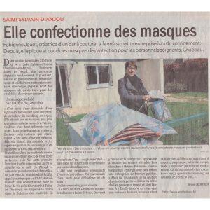 Article presse CO 20200401 Confection masques - ETOFFE DE SOI - Cours de couture et bar à couture Angers