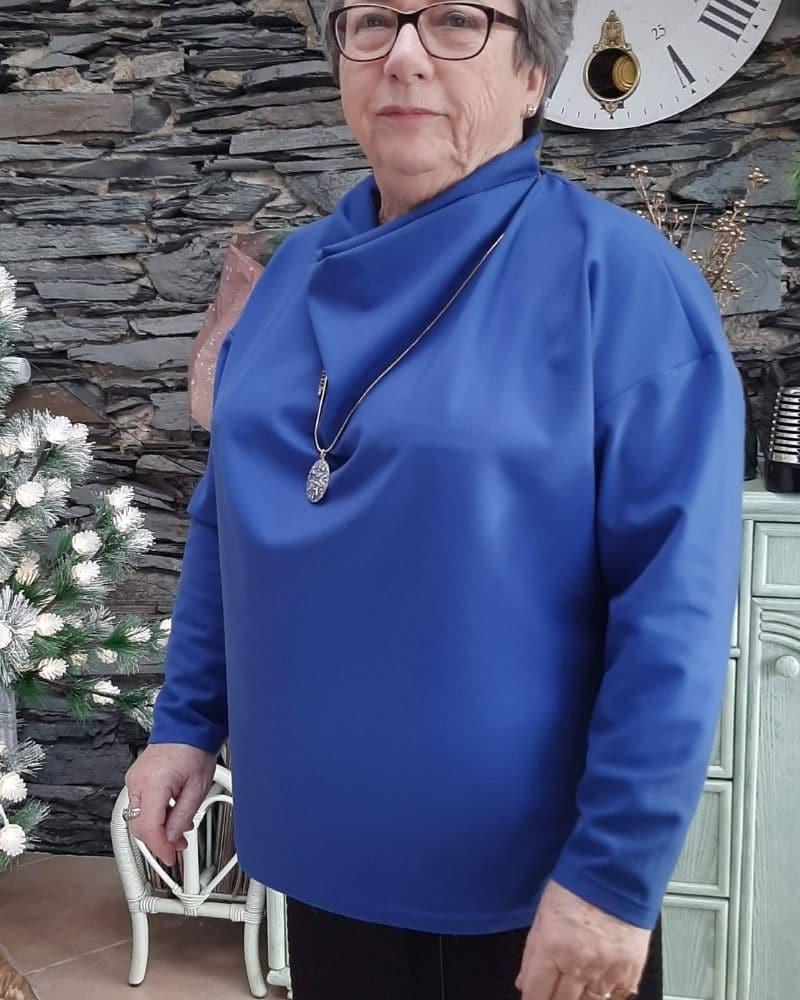 haut-bleu-col bénitier-patronage-cours de couture